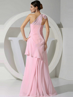 Graceful A-line Chiffon One shoulder Tiered Evening Dresses