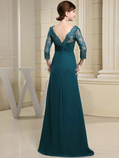 Graceful A-line Chiffon V-neck Lace Evening Dresses