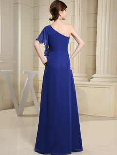 Bravo A-line Chiffon One shoulder Floor-length Evening Dresses