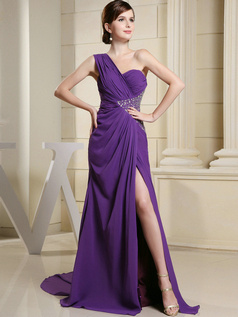 Gorgeous A-line One shoulder Court Train Split Front Prom Dresses