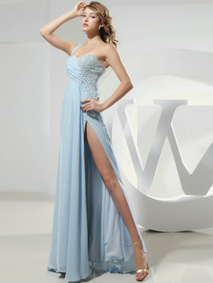 Adorable Sheath/Column Chiffon One shoulder Split Front Prom/Evening Dresses