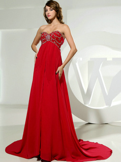 Wonderful A-line Sweetheart Court Train Crystal Evening Dresses