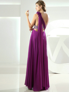 Outstanding Sheath/Column One shoulder Floor-length Split Front Prom Dresses