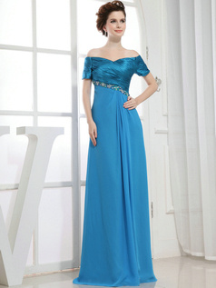 Fabulous Sheath/Column Chiffon Off-the-shoulder Floor-length Evening Dresses