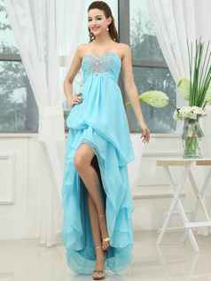 Snazzy A-line Sweetheart Asymmetrical Train Crystal Prom Dresses