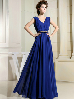 Stunning Sheath/Column V-neck Floor-length Draped Evening Dresses