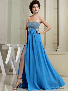Phenomenal A-line Chiffon Tube Top Split Front Prom Dresses