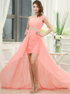 Intelligent Sheath/Column One shoulder Asymmetrical Train Tiered Prom Dresses