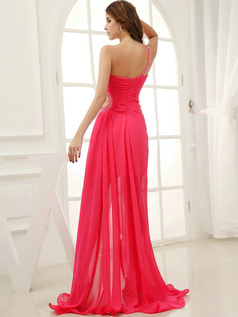 Marvelous A-line Chiffon One shoulder Draped Prom/Evening Dresses