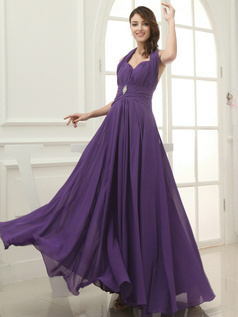 Impressive Sheath/Column Halter Floor-length Draped Evening Dresses