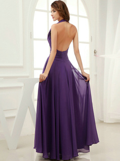 Impressive Sheath/Column Halter Floor-length Draped Bridesmaid Dresses