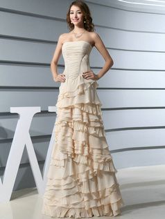 Astonishing A-line Chiffon Floor-length Tiered Evening Dresses