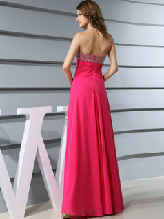 Astounding Sheath/Column Chiffon Floor-length Crystal Evening Dresses