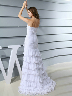 Fantasy Mermaid/Trumpet Sweetheart Sweep Tiered Prom Dresses