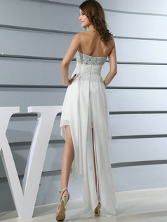 Sexy A-line Chiffon Asymmetrical Train Crystal Prom Dresses