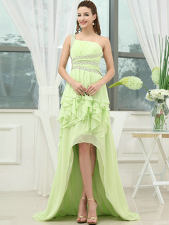 Graceful A-line Chiffon One shoulder Asymmetrical Train Prom Dresses