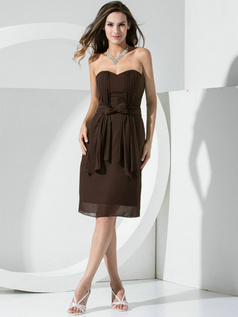 Lovely Sheath Chiffon Sweetheart Bowknot Cocktail Dresses