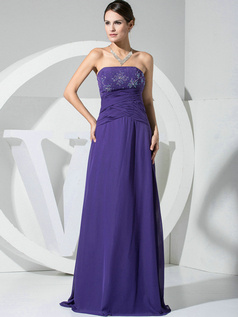Sexy A-line Chiffon Tube Top Beading Evening/Prom Dresses