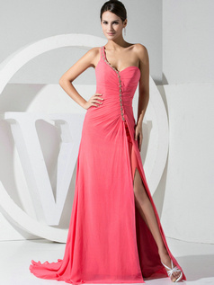 Fantastic A-line Chiffon One shoulder Split Front Evening/Prom Dresses