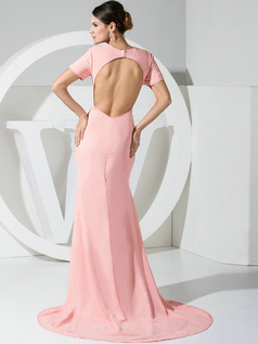 Incomparable Mermaid/Trumpet Chiffon Round Brought  Evening Dresses