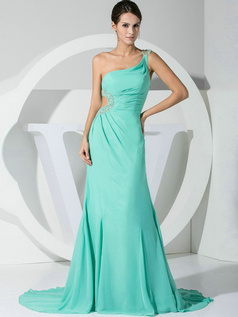 Remarkable A-line Chiffon One shoulder Crystal/Rhinestone Evening/Prom Dresses