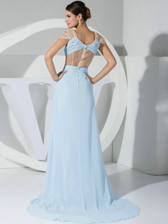 Spectacular A-line Chiffon V-neck Draped Evening/Prom Dresses