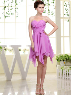 Pure Color Classic A-line Chiffon Sweetheart Bowknot Prom/Cocktail Dresses