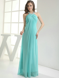 Terrific Sheath/Column Chiffon Halter Floor-length Evening Dresses