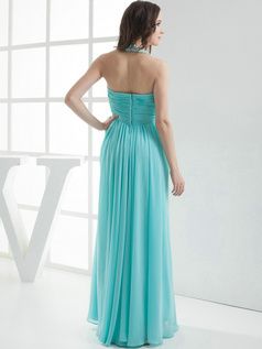 Terrific Sheath/Column Chiffon Halter Floor-length Bridesmaid Dresses