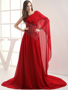 Luxurious A-Line One shoulder Chapel Train Beading Prom Dresses