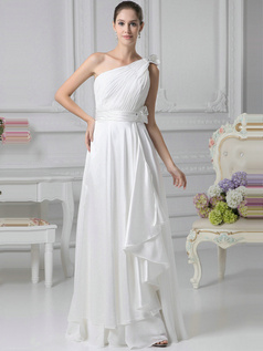Outstanding A-Line Chiffon One shoulder Side-draped Evening Dresses