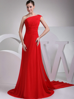 Excellent A-Line One shoulder Court Train Draped Evening Dresses