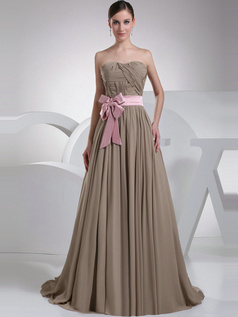 Fantastic A-Line Chiffon Sweep Sashes Evening Dresses