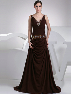 Beautiful A-Line V-neck Sweep Crystal Prom Dresses
