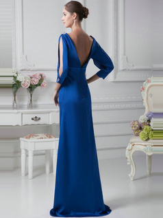 Elegant Sheath/Column Chiffon V-neck Floor-length Evening Dresses
