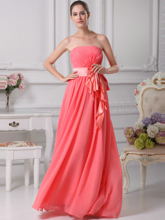 Gorgeous A-Line Chiffon Tube Top Sashes Evening Dresses