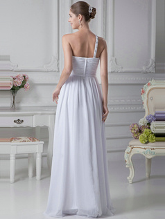 Graceful A-Line One shoulder Floor-length Crystal Bridesmaid Dresses