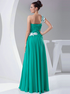 Noble Sheath/Column Chiffon One shoulder Appliques Evening Dresses