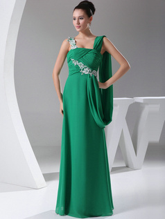 Appealing Sheath/Column Chiffon Floor-length Appliques Evening Dresses