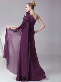 Phenomenal Sheath/Column One shoulder Floor-length Flower Bridesmaid Dresses