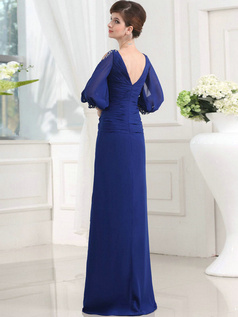 Stunning Sheath/Column Chiffon Floor-length Crystal Evening Dresses