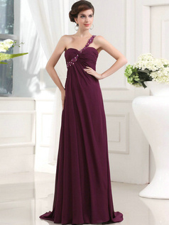 Glorious Sheath/Column One shoulder Sweep Draped Evening Dresses