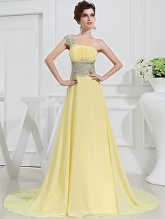 Shining A-line Chiffon One shoulder Sweep Prom Dresses