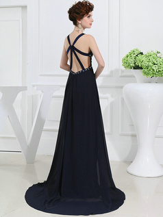 Brilliant A-line Chiffon Sweep Split Front Evening Dresses