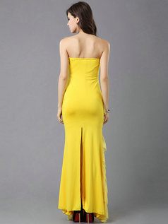 Mermaid Strapless Floor-length Chiffon Crystals Ruffle Backless Evening Dresses