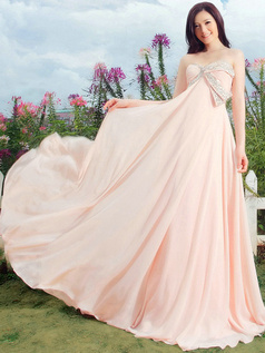 A-line Strapless Brush Train Chiffon Beading Prom Dresses