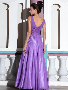 Column Straps Floor-length Chiffon Crystal Prom Dresses With Flowers