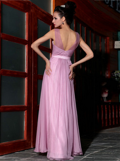 Sheath Straps Floor-length Chiffon Sequin Prom Dresses