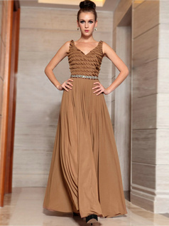 Column Straps Floor-length Chiffon Rhinestone Pleats Prom Dresses
