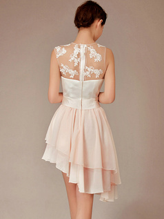 A-line Round Brought Short Chiffon Appliques Asymmetrical Homecoming Dresses